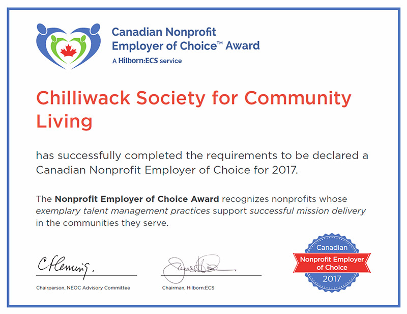 NEOC Award Certificate